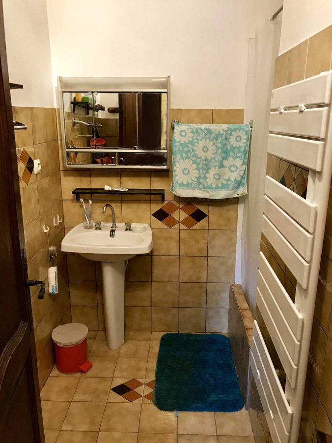 Salle de bain, 1 vasque avec une douche et sèche-serviettes